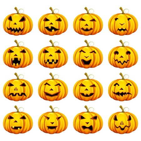 celebration smiley: Halloween Pumpkin in different Mood