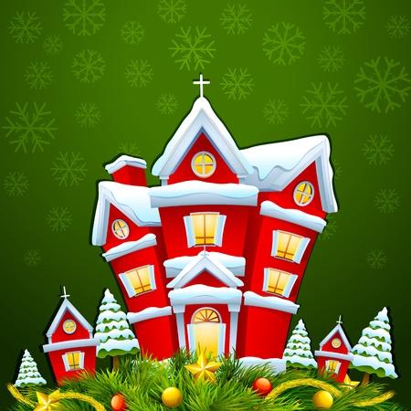 boule de neige: Maison d�cor�e pour Merry Christmas Illustration