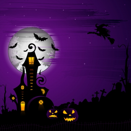 ghost house: Halloween Background Illustration