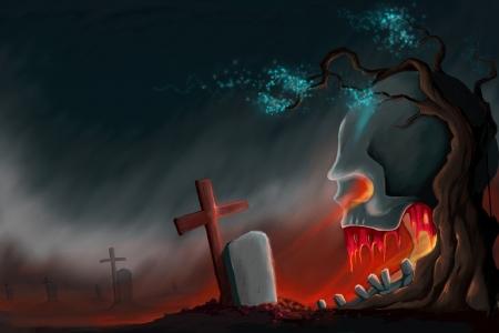haunted tree: Halloween Background Stock Photo