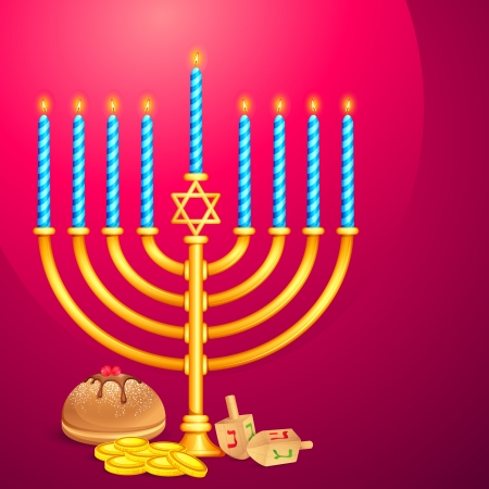 jewish new year: Manorah and Dreidel Illustration