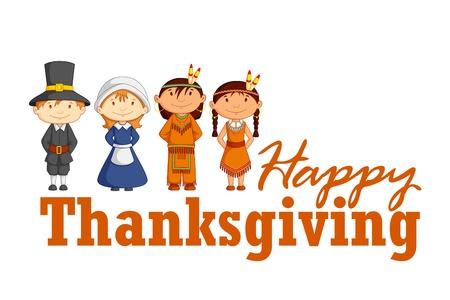 p�lerin: Red Indian Thanksgiving qui souhaitent Illustration