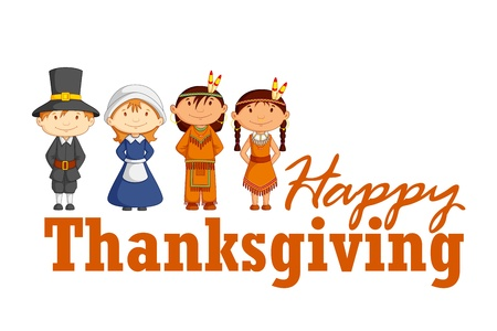 Red Indian wishing Thanksgiving Vector