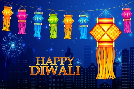Diwali Hanging Lantern Vector