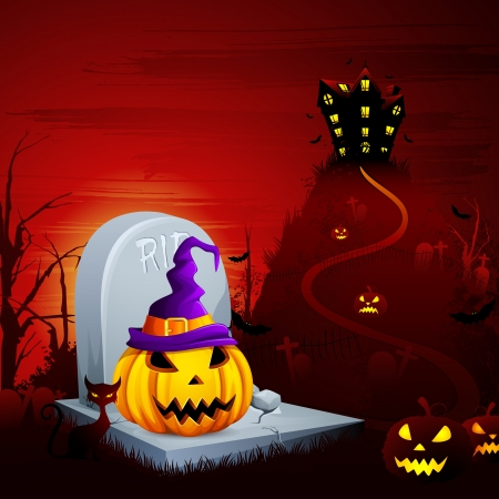 Halloween Pumpkin on Grave Vector