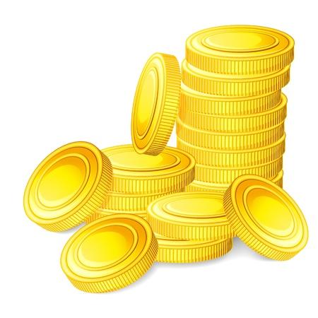 antique coins: illustration of stack of gold coin Illustration