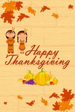 pilgrim costume: Red Indian wishing Thanksgiving Illustration