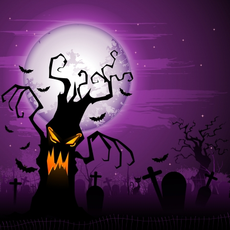 Scary Halloween Tree Vector