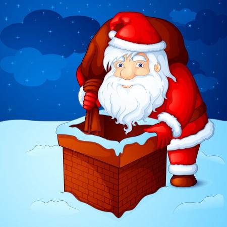 papa noel: Santa peeping through fireplace chimney