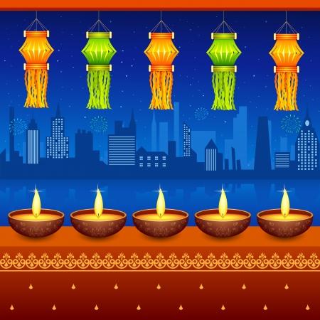 Diwali Opknoping Lantern Vector Illustratie