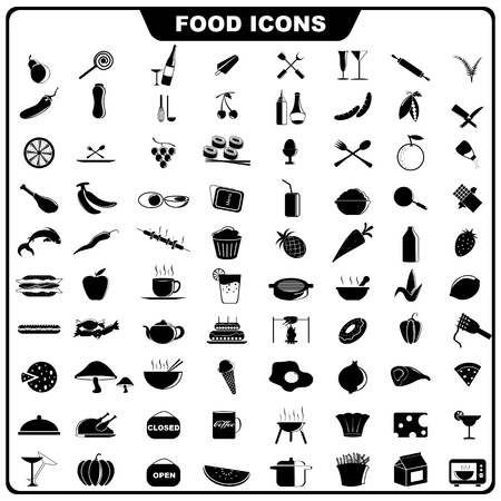 illustration of complete set of food icon