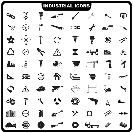 silhouette industrial factory:  illustration of complete set of industrial icon