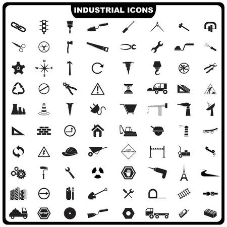 edificio industrial: Ilustraci�n del conjunto completo del industrial icono