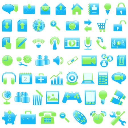 illustration of set of office icon against white Stock Vector - 16015341