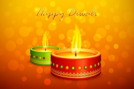candle flame:  illustration of holy diya for Diwali festival Illustration