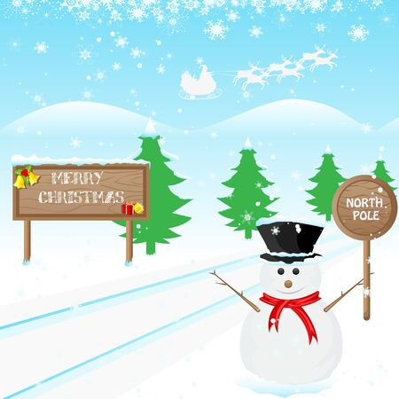 illustration of snowman wishing Merry Christmas Vector