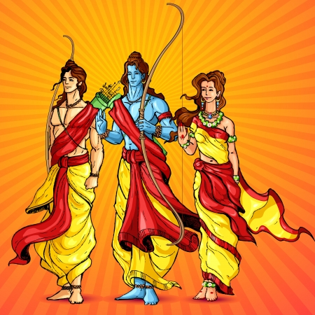 hindu god:  illustration of Lord Rama,Laxmana and Sita Illustration