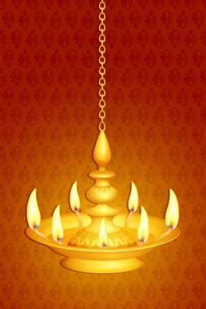 illustration of golden diya for Diwali festival Vector