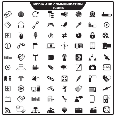 wireless communication:  illustration of set of media icon Illustration