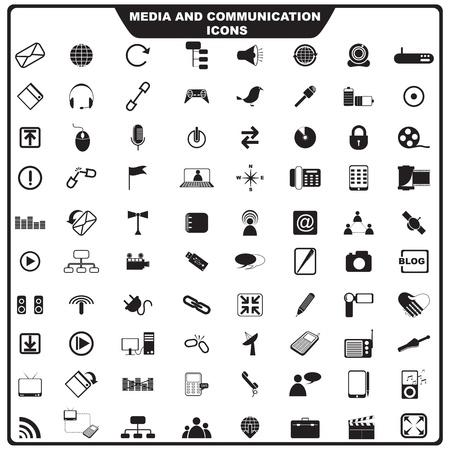 Ilustración del conjunto de medios de comunicación icono