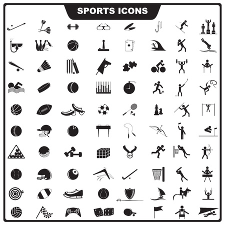 cricket:  illustration of set of sport icon