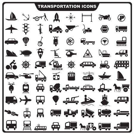 illustration of set of Transportation icon Vector
