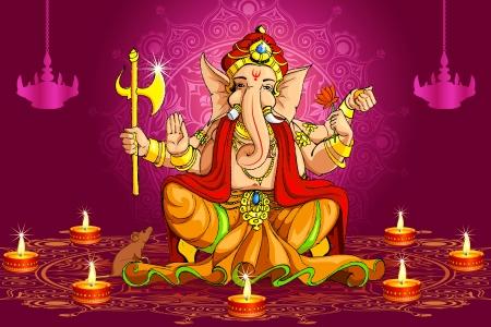 ganesh: Ganesh y Deepawali Vectores