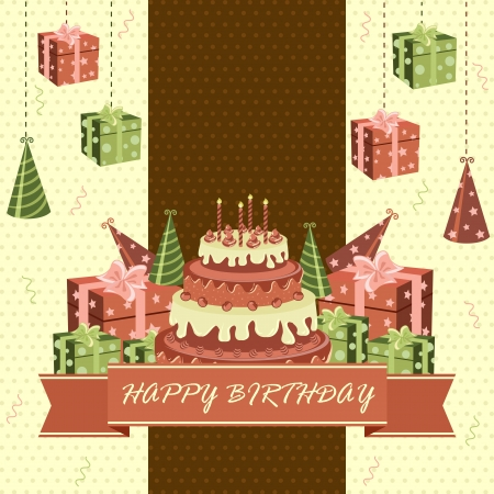 Birthday Cake and Gifts Vector