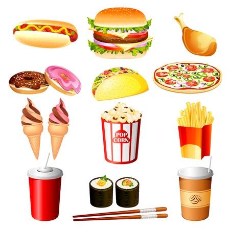 papas fritas: comida rápida Vectores