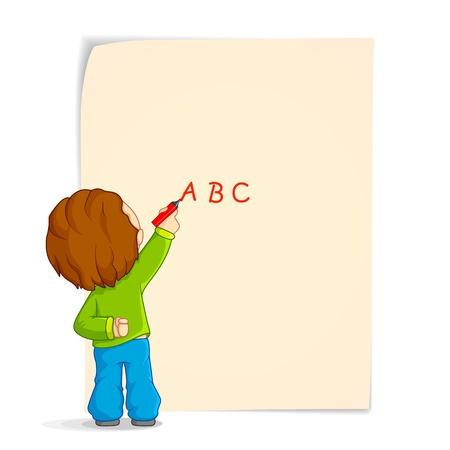 smart kid: Kid writing on Paper Illustration