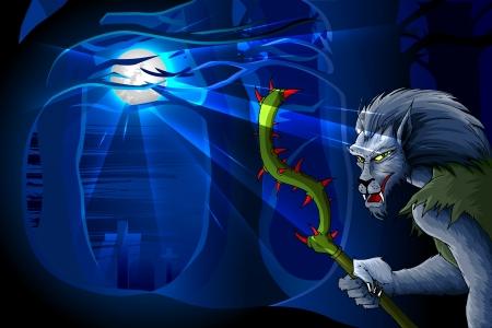 Wolf Man in Halloween night Stock Vector - 16235310