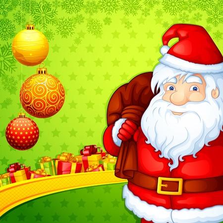 papa noel: Santa with Christmas Gift Illustration