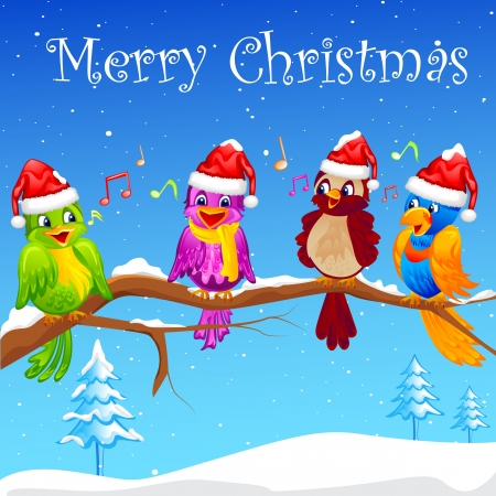 Birds singing Christmas Carol Vector