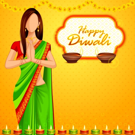 伝統: ハッピーディワリ祭を希望はインドの女性 写真素材