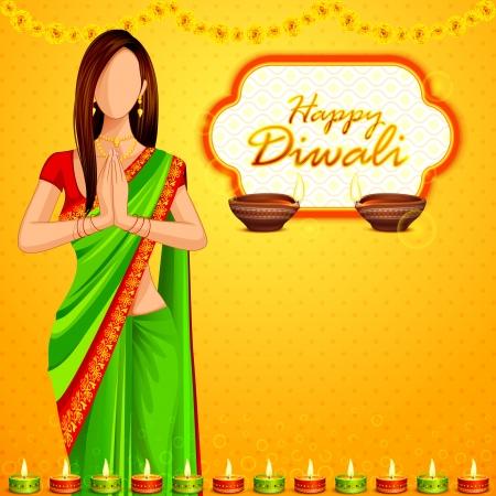 namaste: Indian dama que desee Happy Diwali Foto de archivo