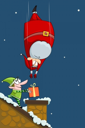 Santa falling in Chimney with Elf Vector