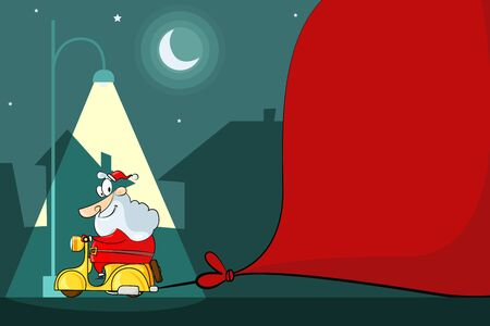 Santa Claus driving Moped Vector
