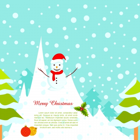 Snowman in Snowy Background Vector