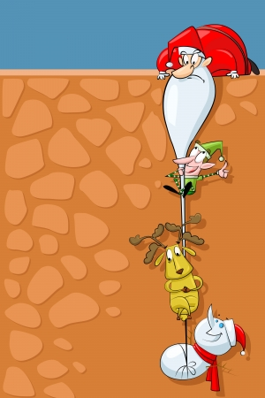 traditional climbing: Funny Christmas Illustration