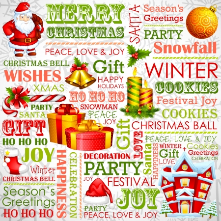 Christmas Typography Background Stock Vector - 17017801