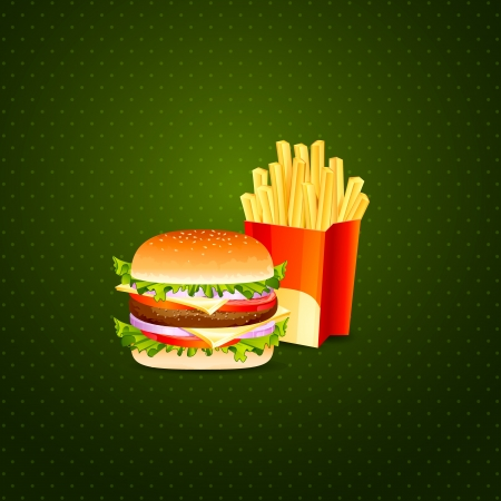 Burger and French Fries Vector
