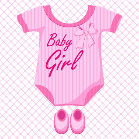 girls with bows: Baby Girl Dress Illustration