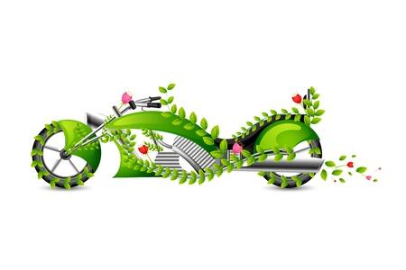 Eco vriendelijke stijl Motor Bike Vector Illustratie