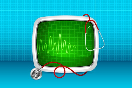 Stethoscope with ECG monitor Stock Vector - 18020476