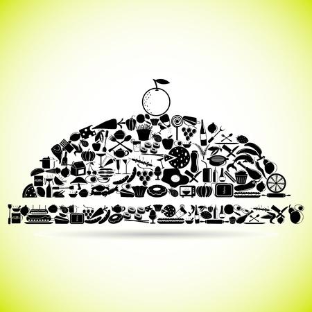cloche: Eten Cloche Stock Illustratie
