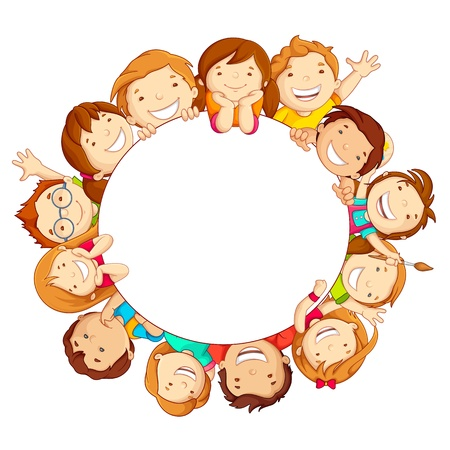 friendship circle: Kids around Circle Illustration