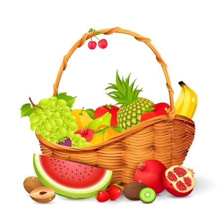 košík: Ovocný koš Ilustrace