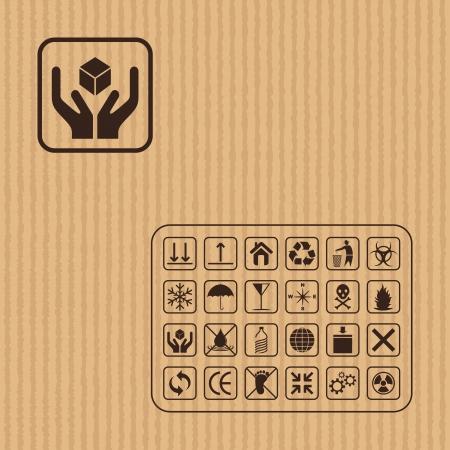 fragile industry: Cargo symbol on Cardboard texture Illustration