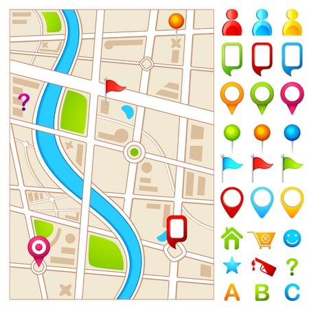 Kaart met GPS wijzer