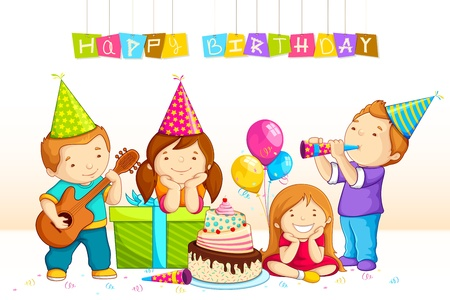 Kids Celebrating Birthday Vector